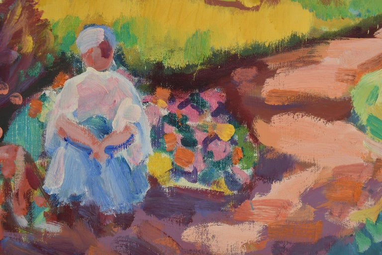 Landscape with mill - Oil Paint on Canvas, Fauvist, Dutch Artist, Painting For Sale 4