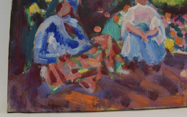 Landscape with mill - Oil Paint on Canvas, Fauvist, Dutch Artist, Painting For Sale 8