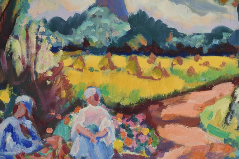 Landscape with mill - Oil Paint on Canvas, Fauvist, Dutch Artist, Painting For Sale 5