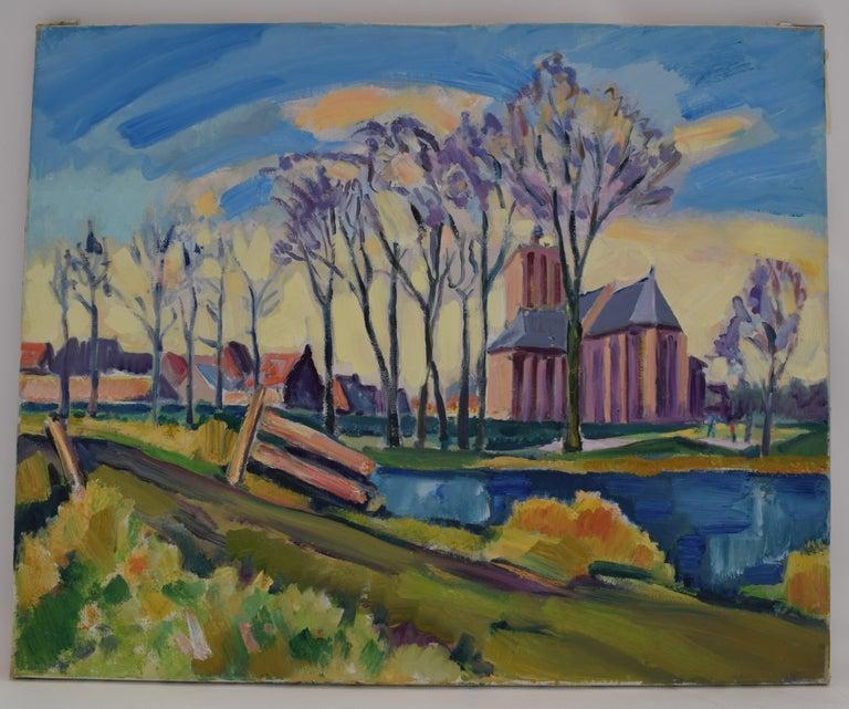 Freek van den Berg Landscape Painting - Landscape with church - Oil Paint on Canvas, Fauvist, Dutch Artist, Painting