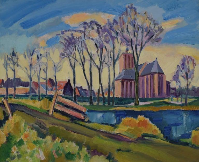 Landscape with church - Oil Paint on Canvas, Fauvist, Dutch Artist, Painting - Gray Landscape Painting by Freek van den Berg
