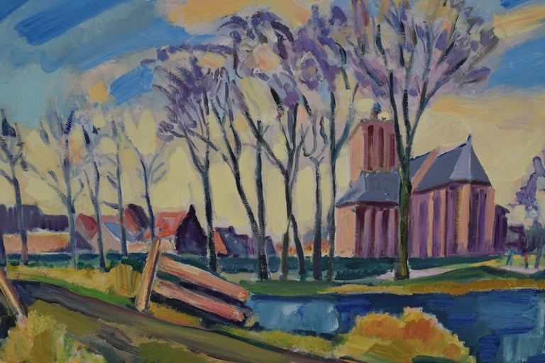 Landscape with church - Oil Paint on Canvas, Fauvist, Dutch Artist, Painting For Sale 2