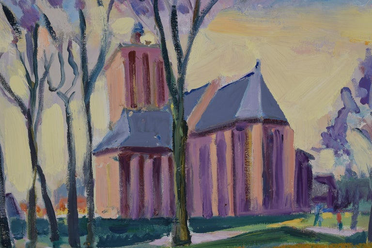 Landscape with church - Oil Paint on Canvas, Fauvist, Dutch Artist, Painting For Sale 3