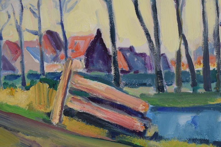 Landscape with church - Oil Paint on Canvas, Fauvist, Dutch Artist, Painting For Sale 4