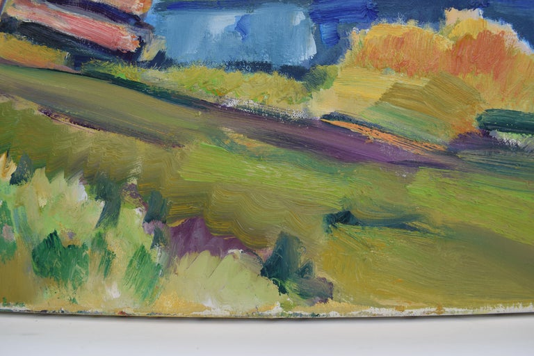 Landscape with church - Oil Paint on Canvas, Fauvist, Dutch Artist, Painting For Sale 5