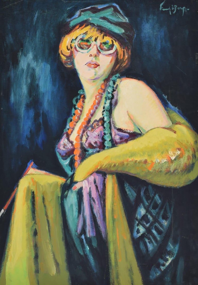 Nelly - Oil Paint on Canvas, Fauvist, Dutch Artist, Portrait, Painting - Black Figurative Painting by Freek van den Berg