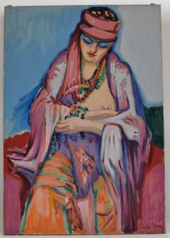 The pink scarf - Oil Paint on Canvas, Fauvist, Dutch Artist, Portrait, Painting