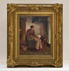 Interior with woman and girl - Heeze -