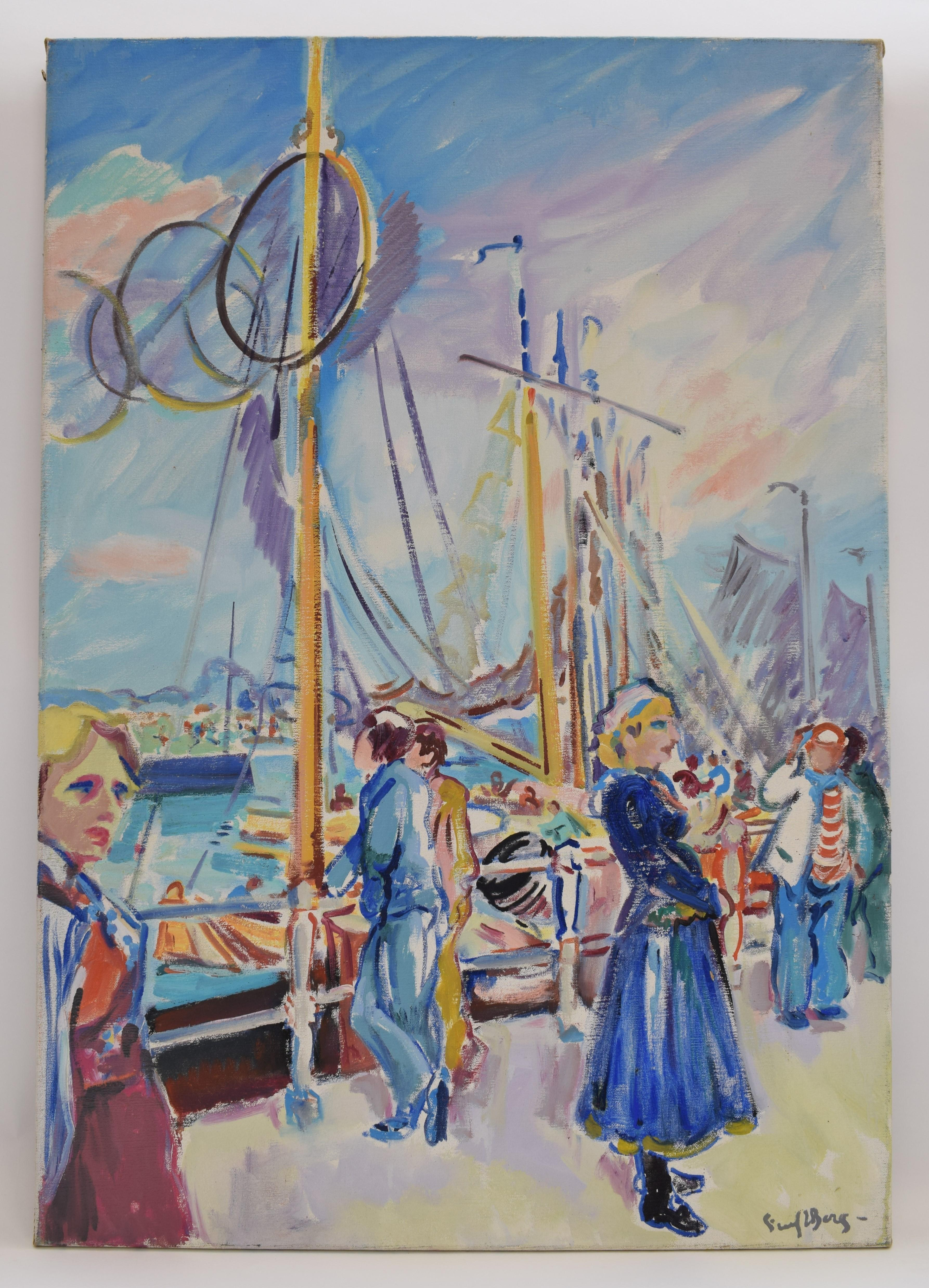 Harbour view - Oil Paint on Canvas, Fauvist, Figurative, Dutch Artist, Painting