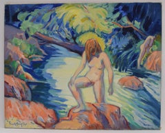 Nude portrait in nature - Oil Paint on Canvas, Fauvist, Dutch Artist, Painting