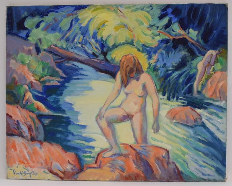 Freek van den Berg Nude Painting -  Nude portrait in nature - Oil Paint on Canvas, Fauvist, Dutch Artist, Painting