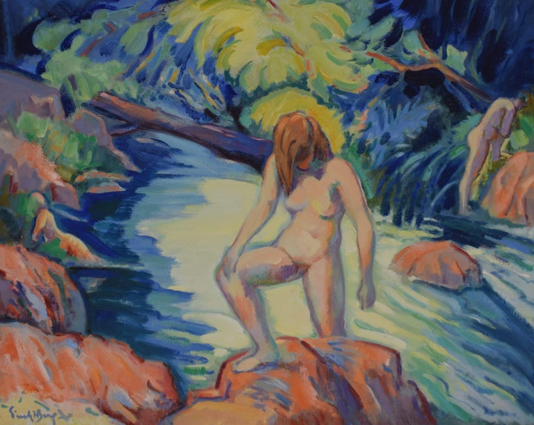 Nude portrait in nature - Oil Paint on Canvas, Fauvist, Dutch Artist, Painting - Gray Nude Painting by Freek van den Berg