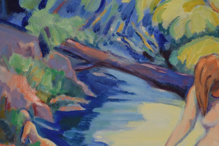 Nude portrait in nature - Oil Paint on Canvas, Fauvist, Dutch Artist, Painting For Sale 4