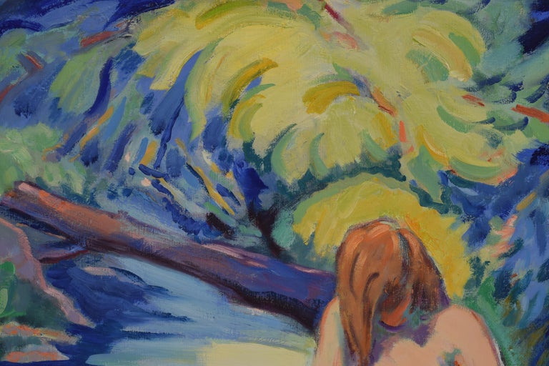 Nude portrait in nature - Oil Paint on Canvas, Fauvist, Dutch Artist, Painting For Sale 5