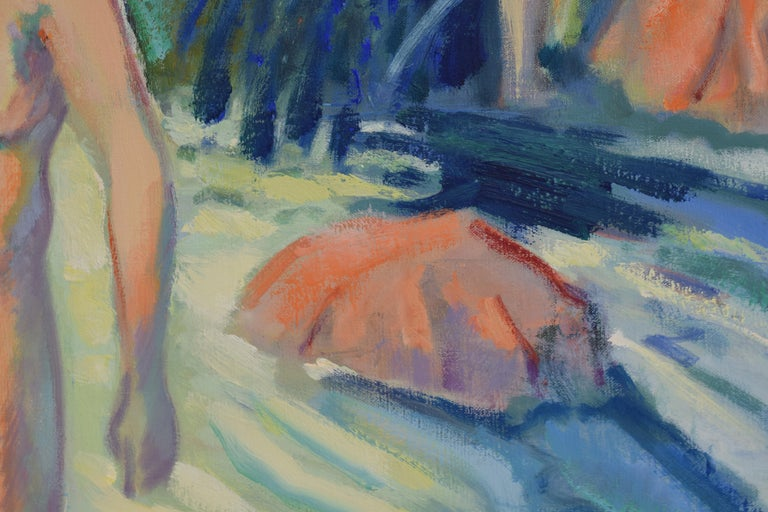 Nude portrait in nature - Oil Paint on Canvas, Fauvist, Dutch Artist, Painting For Sale 8