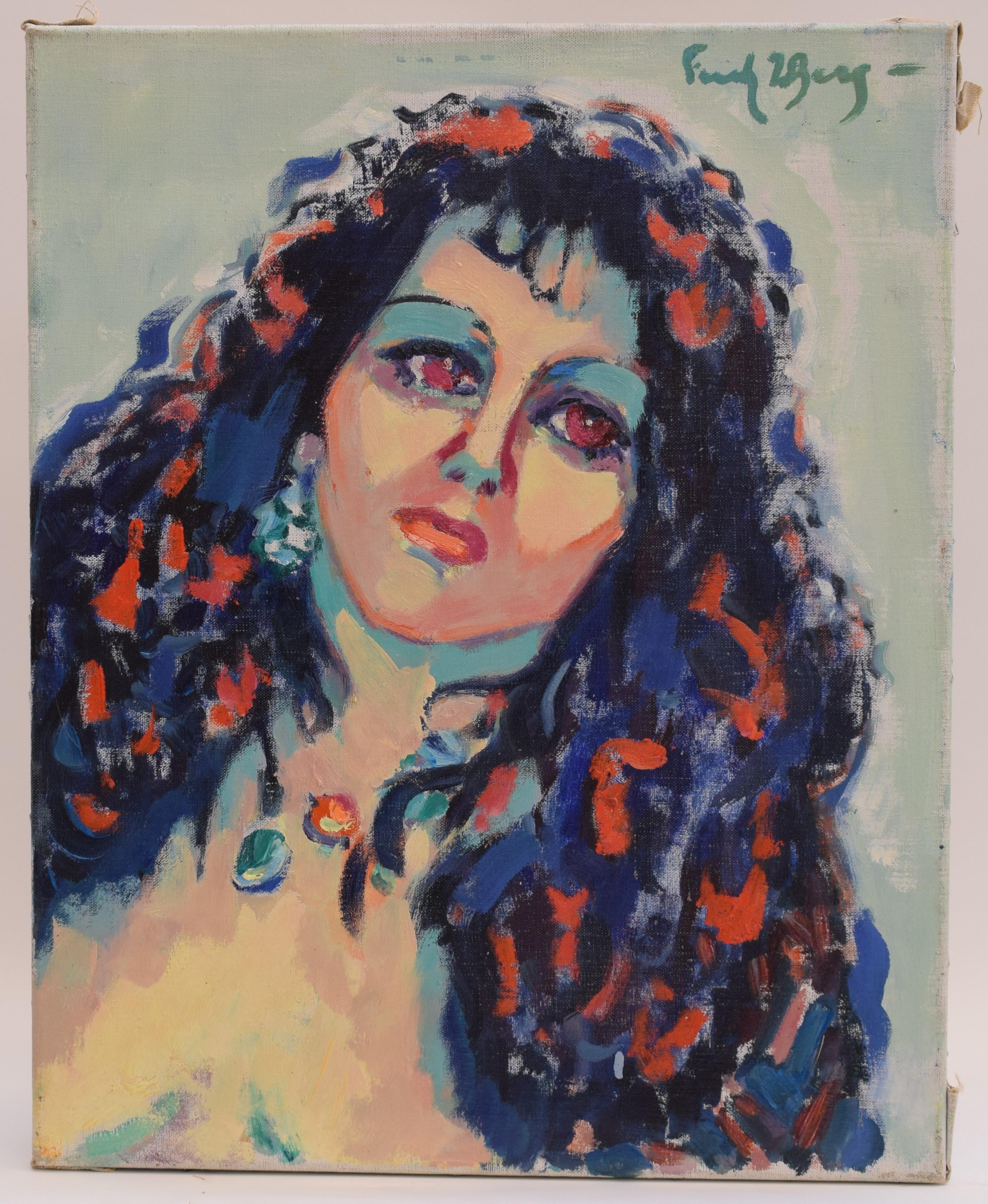 Portrait of a lady - Oil Paint on Canvas, Fauvist, Dutch Artist, Painting