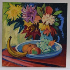 Still life with banana - Oil Paint on Canvas, Fauvist, Dutch Artist, Colorful