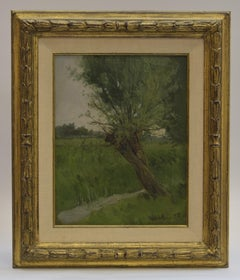Landscape with pollard willow - Classical Art  Marouflé