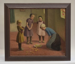 Children with chicks - Oil paint on canvas Figurative Classical Art Interior