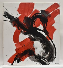 Evolution No. 8 - Abstract, Acrylic on Canvas, White, Red, Black