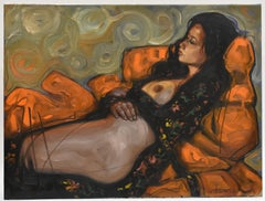 Nude woman laying on a sofa - Contemporary figurative Art Nudity Skin