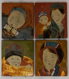 4 portraits mother and child - Lacquer on Wood Panel