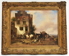 A vibrant village view, Oil paint on panel, 1841 - Romatic European Hunt Horses