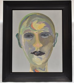 Portrait, abstract green , Ad Snijders, Oil paint on canvas,
