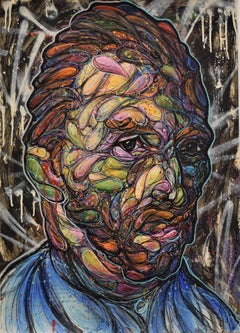 Vincentrente Nr. 10, Nowart, Van Gogh portrait, mixed media, signed and dated