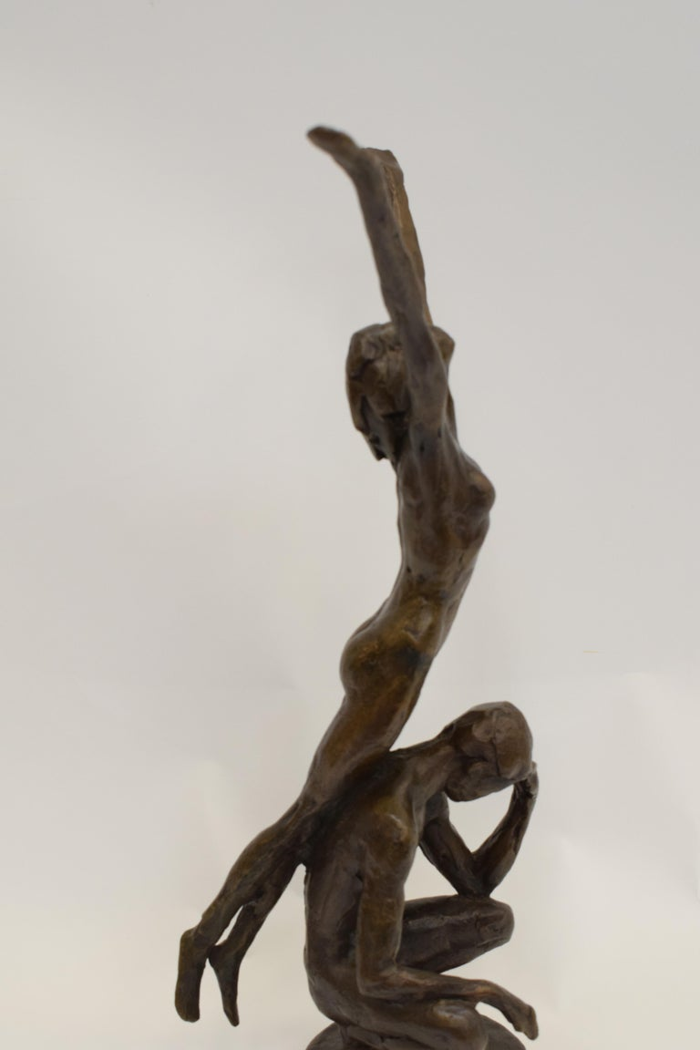 Bronze statue of sitting man and woman balancing on the back - Kees Verkade  For Sale 5
