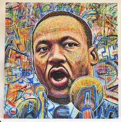 Martin Luther King portrait, mixed media, Nowart, signed, black Lives Matter