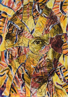 Vincentrente Nr. 86, Nowart, Van Gogh portrait, mixed media, signed and dated