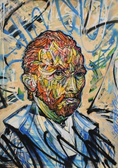 Vincentrente Nr. 71, Nowart, Van Gogh portrait, mixed media, signed and dated