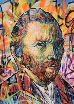 Vincentrente Nr. 56, Nowart, Van Gogh portrait, mixed media, signed and dated