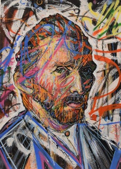 Vincentrente Nr. 63, Nowart, Van Gogh portrait, mixed media, signed and dated