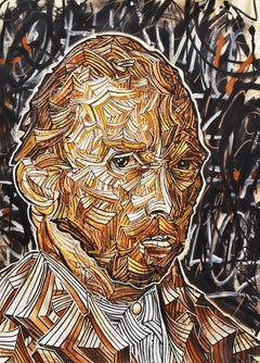 Vincentrente Nr. 42, Nowart, Van Gogh portrait, mixed media, signed and dated
