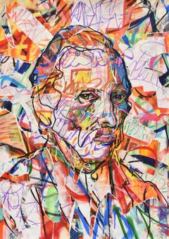 Vincentrente Nr. 30, Nowart, Van Gogh portrait, mixed media, signed and dated