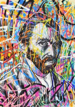 Vincentrente Nr. 27, Nowart, Van Gogh portrait, mixed media, signed and dated