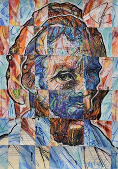 Vincentrente Nr. 84, Nowart, Van Gogh portrait, mixed media, signed and dated