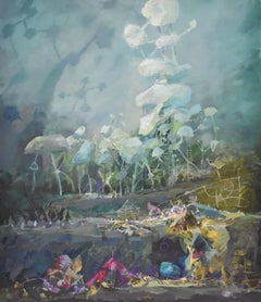 Arcadian landscape, surrealist , Joop Smits, Dutch artist, signed