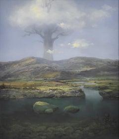 Arcadian landscape, surrealist , Joop Smits, Dutch artist, European