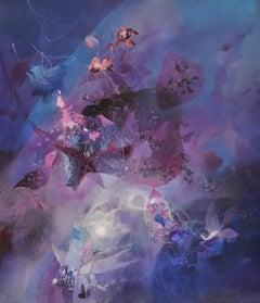 Galaxy, surrealist , Joop Smits, Dutch artist, signed