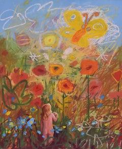 Girl in fictional drawing world, Surrealist, Joop Smits, Dutch artist, signed