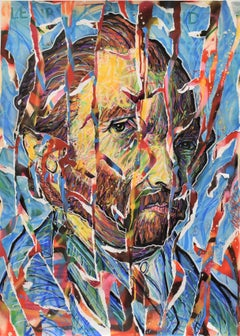 Vincentrente Nr. 82, Nowart, Van Gogh portrait, mixed media, signed and dated