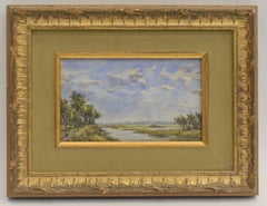 Polder landscape Willem Roelofs Haque School Impressionist Dutch Watercolor