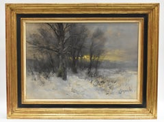 Winterlandscape with forest and setting sun - Dutch Impressionist snow trees
