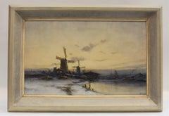 Dutch winterlandscape with windmills - Johan Wijsmuller Impressionism Riverside