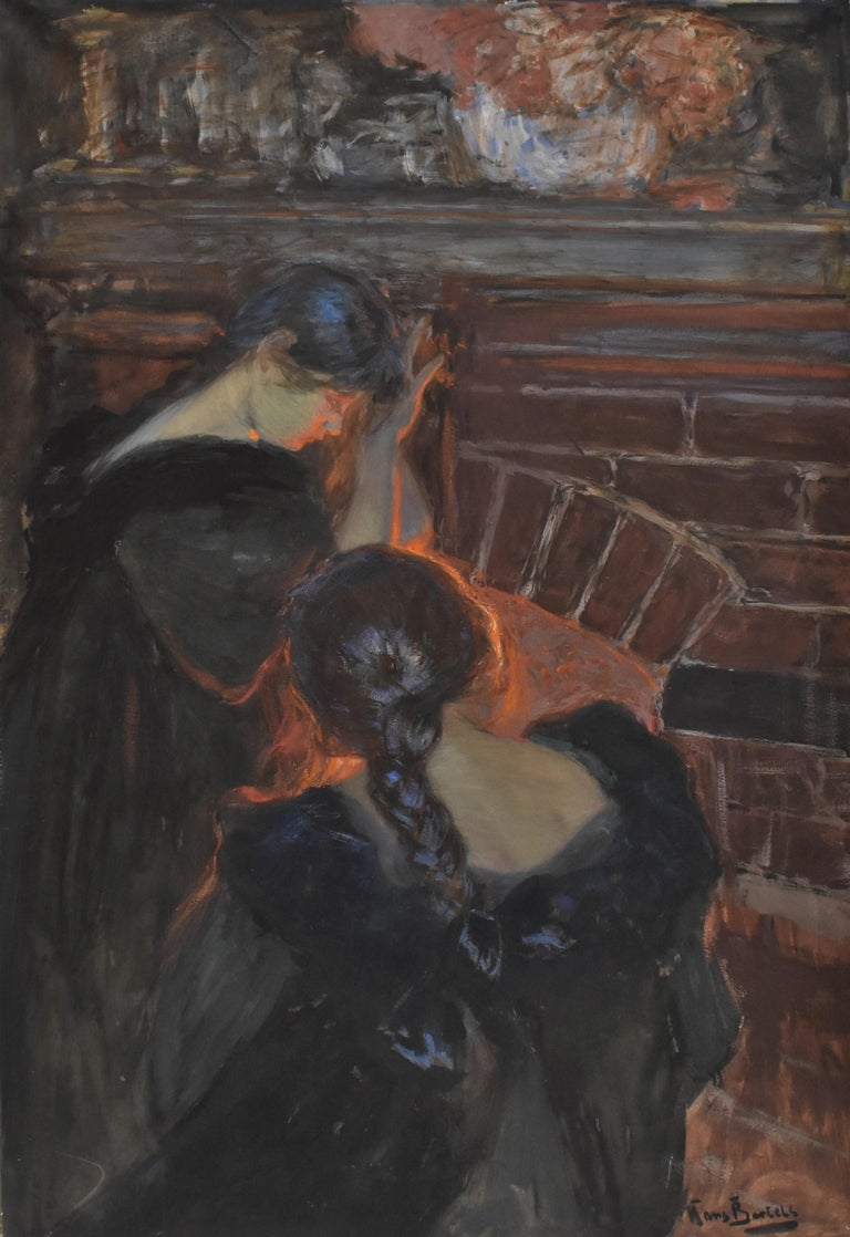 At the fireplace  - Hans von Bartels Mixed media - Painting by Hans von Bartels