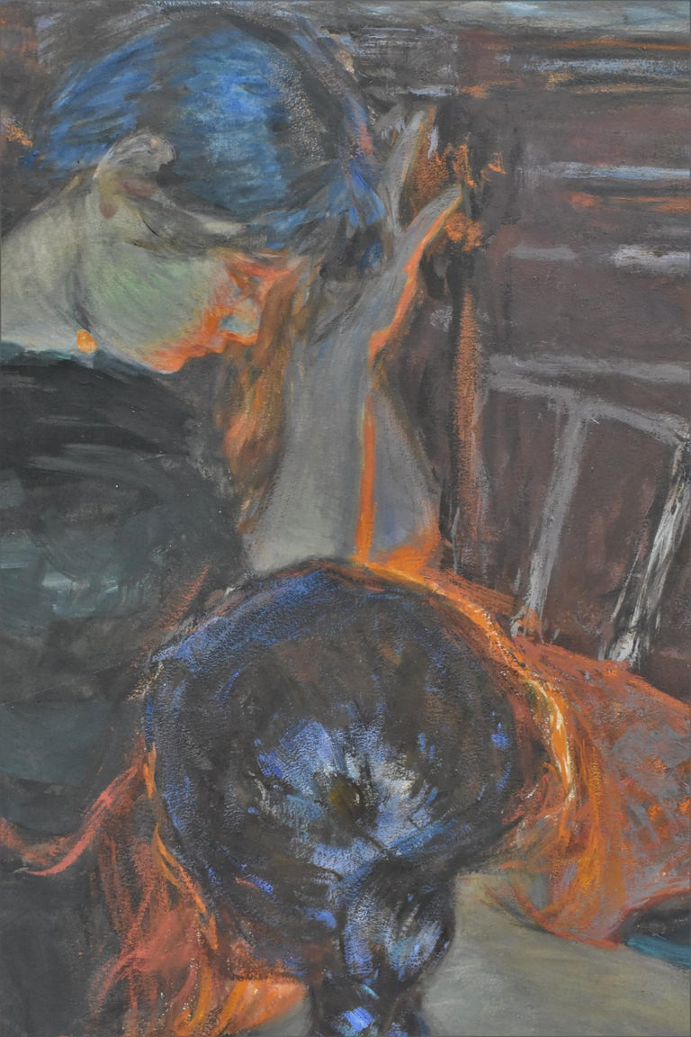 At the fireplace  - Hans von Bartels Mixed media - Black Interior Painting by Hans von Bartels
