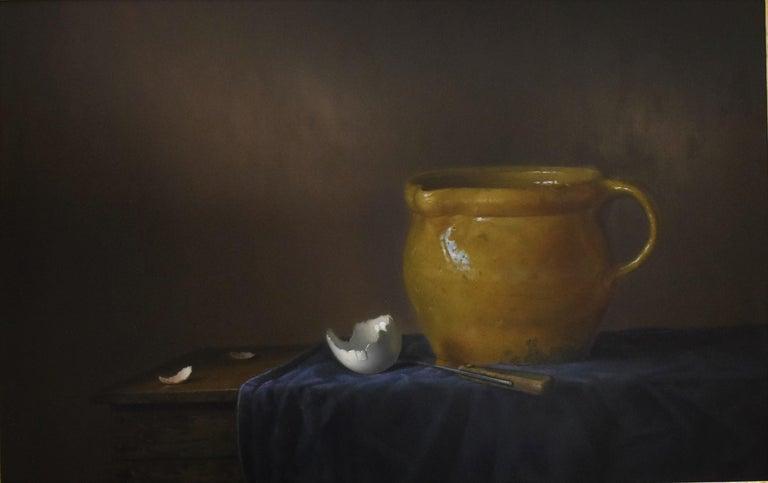 Yellow jug with egg - Peter van den Borne - Black Interior Painting by Peter van den Borne
